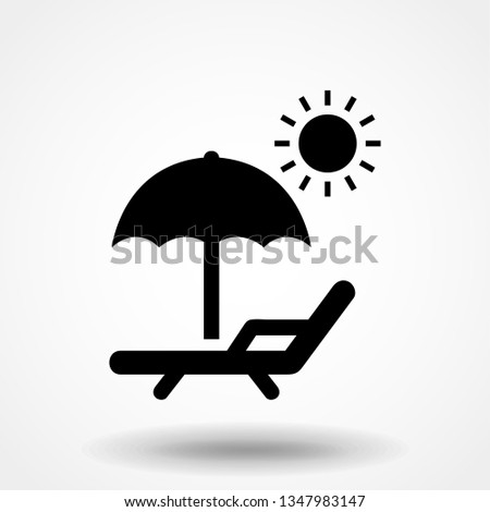 chaise-longue sun Icon Vector Illustration
