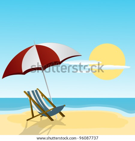 Chaise lounge and umbrella on the beach side.