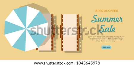 Chaise lounge and umbrella. Summer Sale Web banner
