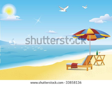 Chaise lounge, beach table and beach umbrella by the sea. Hot summer sun illuminates brilliant blue sky and bright yellow sand. Two seagulls are flying high above. White sailboat is visible far away