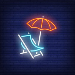 Chaise-lounge neon sign. Beach chair and umbrella on dark brick wall background. Night bright advertisement. Vector illustration in neon style for travel agency or vacation