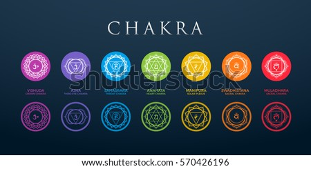 Chakra set with dark background
