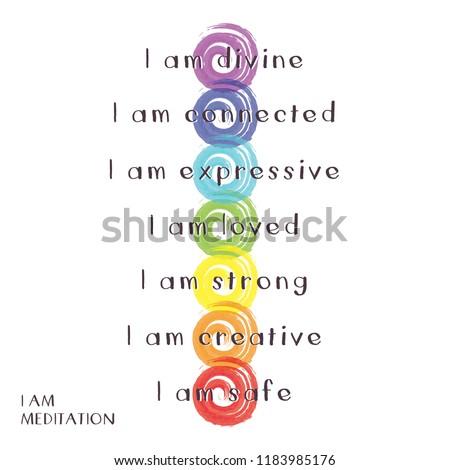 Chakra Symbols with words for I am meditation Foto stock ©
