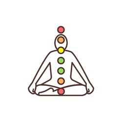Chakra system RGB color icon. Energy centers in human body. Chakras functioning along spine. Energy channels connection network. Spiritual nervous system. Mental health. Isolated vector illustration
