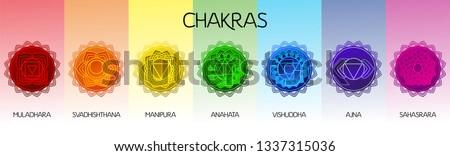 Chakras set: muladhara, swadhisthana, manipura, anahata, vishuddha, ajna, sahasrara. Vector line symbol. Om sign Foto stock ©