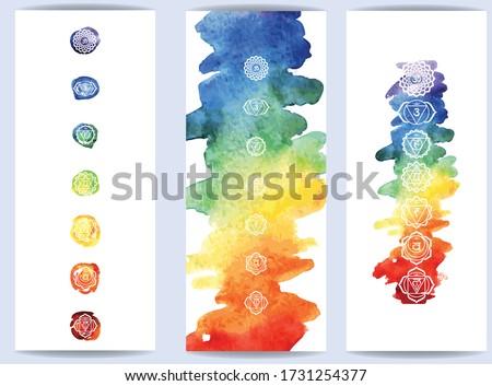Chakras symbol on color watercolor background Template for yoga mats, spiritual retreat or yoga studio  Foto stock ©