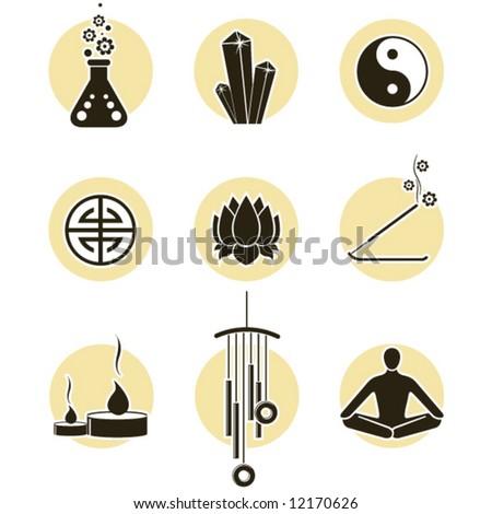 chakras symbols and spirituality icon set stock vector