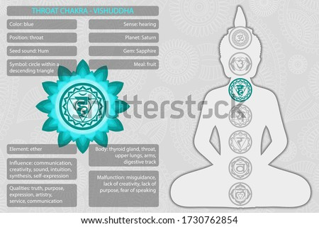 Chakras symbols with description of meanings infographic Foto stock ©