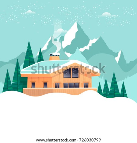 chalet  winter landscape with