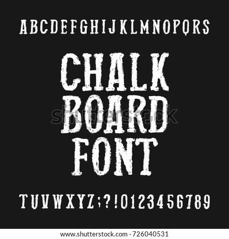 Chalk board alphabet font. Distressed hand drawn letters and numbers on a dark background. Vector typeface for your design.