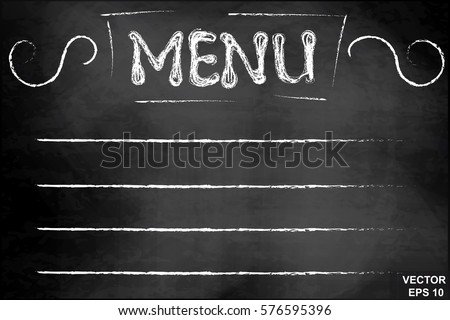 Chalk board. Caption menu. White. For your design.
