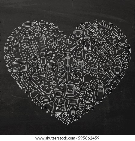 Chalk board vector hand drawn set of Medical cartoon doodle objects, symbols and items. Heart form composition