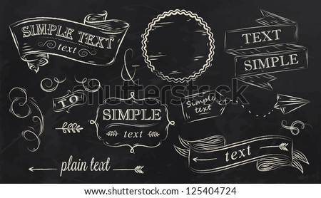 Chalk design elements of a stylized drawing with chalk on the board, box, label, pattern, decoration, ribbon, arrow, reception design, on a black background