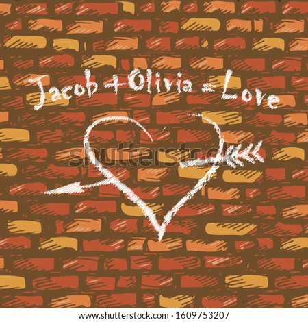 Chalk drawing on an old brick wall - Jacob plus Olivia is equal to Love, and below is an image of a heart pierced by an arrow. Vector illustration