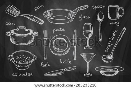 chalk drawing tableware on the chalkboard