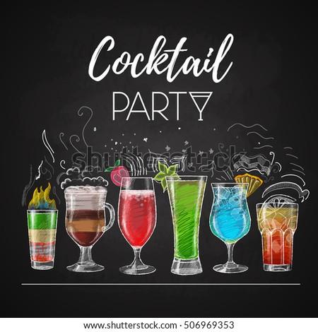 chalk drawings cocktail menu