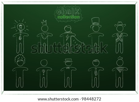 Chalk drawn people on blackboard
