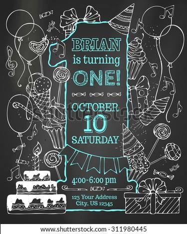 chalk first birthday invitation