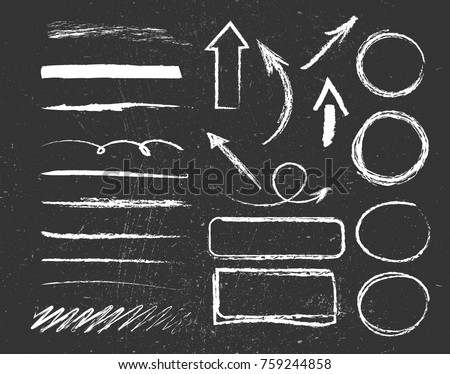 Chalk graphic elements collection - arrows, frames, rectangle, oval and round shapes. Chalk forms on black board. Vector illustration