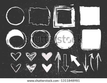 Chalk graphic elements collection - hearts, arrows, frames, rectangle, oval and round shapes. Chalk forms on black board.