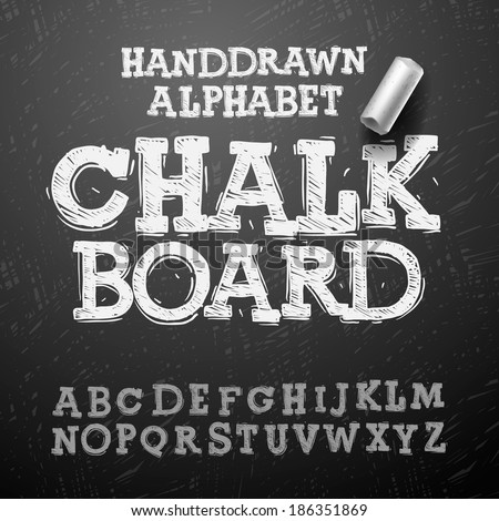 Shutterstock Chalk hand drawing alphabet, vector illustration.