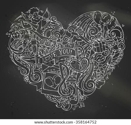 chalk hand drawn doodles heart