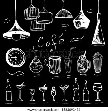 Chalk illustration of cafe elements: dishes, lams, drinks. Doodle set of hand drawn white icons isolated on black background. For restaurant, cafe interior design.