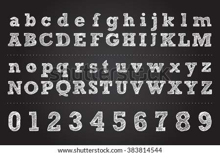 chalk letter design. vector hand drawn alphabet. illustration of letters and numbers