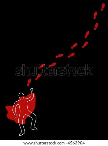 Chalk line, blood, and footsteps at a crime scene
