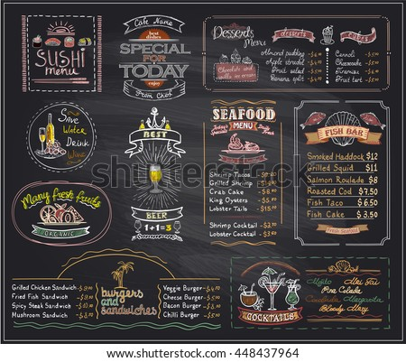 chalk menu list blackboard