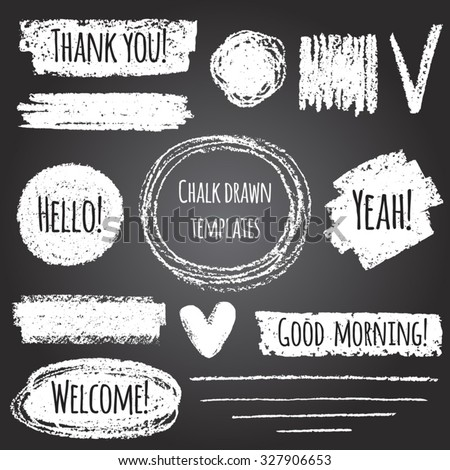 Chalk or pencil drawn graphic elements collection - strokes, stripes, frames, rectangle, oval and round shapes, heart, tick. Chalk forms on black board with lettering - thank you, hello, welcome etc.