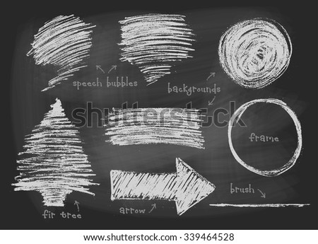 Chalk, pastel or pencil drawn graphic elements collection - speech bubbles, backgrounds, round frame, arrow, fir tree, stripe, brush template. Vector illustration.