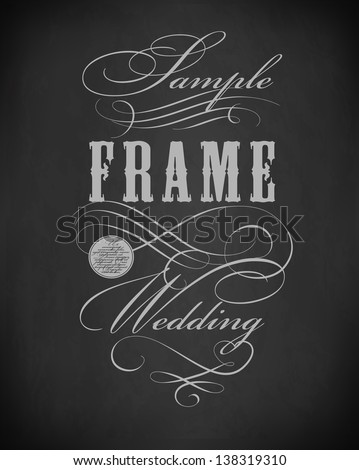 Chalk  premium frame  typography, calligraphic design elements, page decoration and labels of drawing with chalk on blackboard