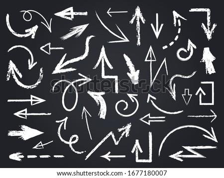 Chalk sketch arrow. Hand drawn chalk arrows, chalkboard graphic elements, chalk arrow signs on chalkboard isolated vector icons set. Arrow sketch chalk, outline scribble blackboard illustration