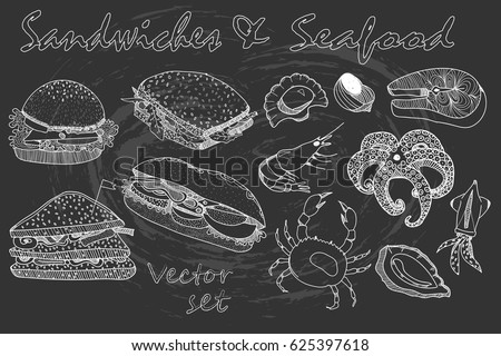 Chalk style hand drawn sandwiches and seafood. Vector collection