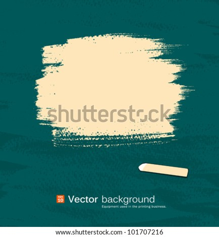 Chalk yellow pastel space for text on blackboard. vector illustration