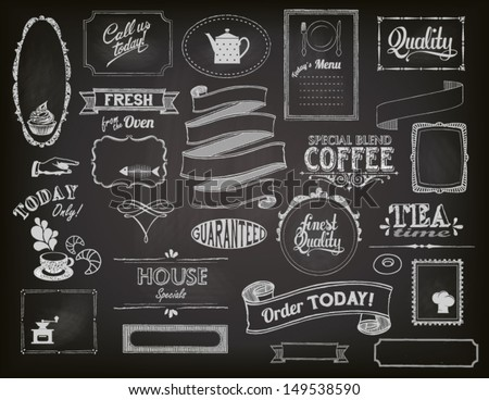 Chalkboard Ads, including frames, banners, swirls and advertisements for restaurant, coffee shop and bakery