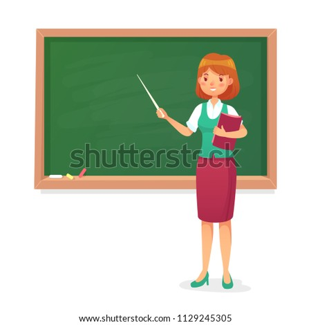 Chalkboard and teacher. Female professor teach at blackboard. Lessons young woman teachers character at school board teaching people on lesson classroom colorful cartoon isolated vector illustration