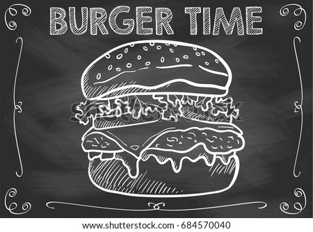 chalkboard burger time with
