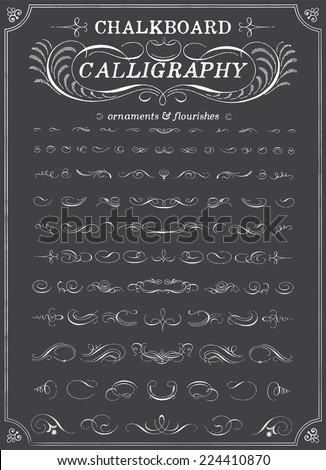 Chalkboard Calligraphy Ornaments - Chalk style ornaments and flourishes. Each object is grouped for easy editing.