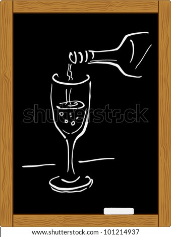 chalkboard chalk sketch of glass wine and bottle. vector