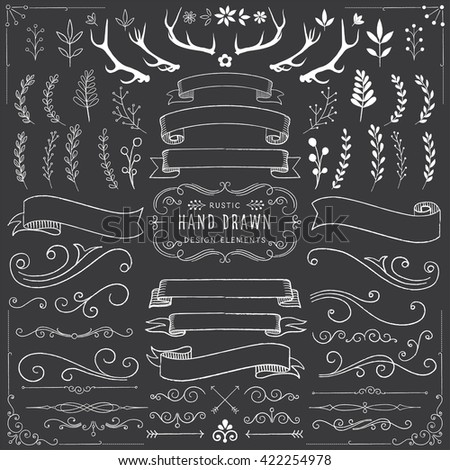 Chalkboard Clipart Set - Chalk ornaments, florals, banners and scrolls