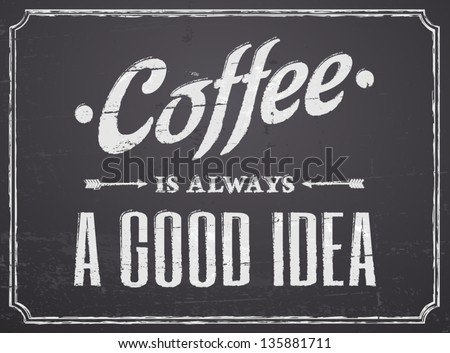 Chalkboard design coffee poster.