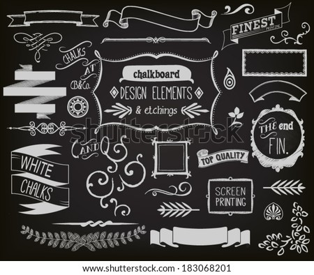 Chalkboard Design Elements and Etchings - Blackboard clip art including frames, ribbons, banners, dividers, branches, brackets and typography