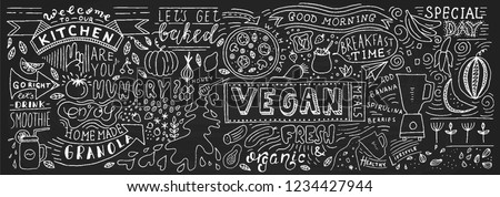 Chalkboard Doodle Food Banner. Cafe template design. Restaurant wall typography. Vector food chalk.