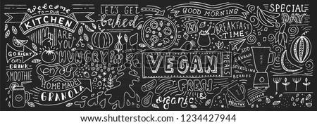 Chalkboard Doodle Food Banner. Cafe template design. Restaurant wall typography. Vector food chalk.