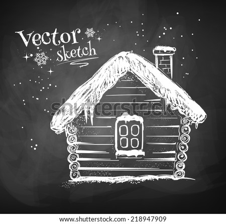 Chalkboard drawing of winter house Vector illustration