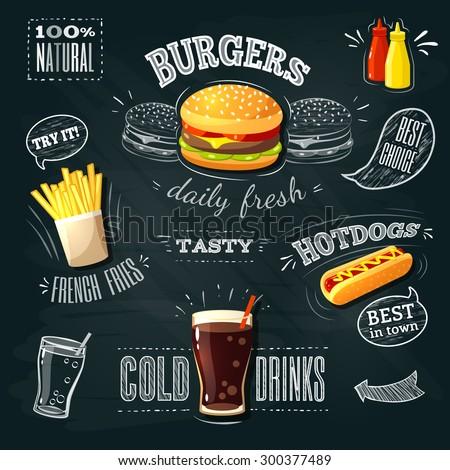 chalkboard fastfood ads