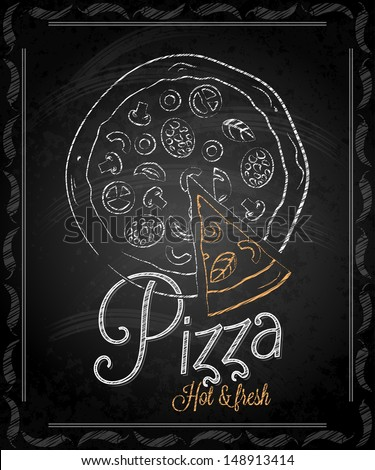 chalkboard - frame pizza menu