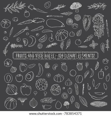 Chalkboard Fruits and Vegetables - Set of 100 hand drawn clipart fruits and vegetables